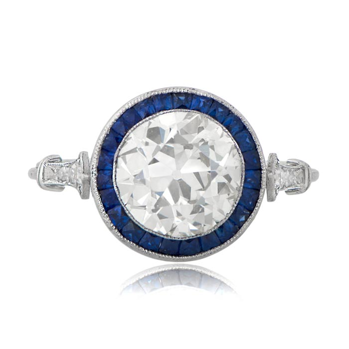 vintage engagement rings with sapphire halo 11019 t - Estate Wedding Rings