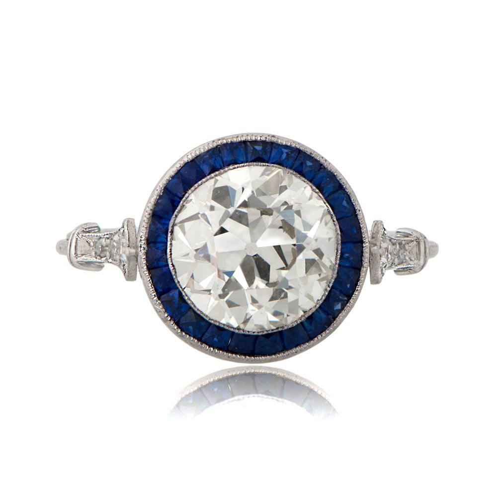 vintage engagement rings with sapphire halo 11019 t view With estate wedding rings