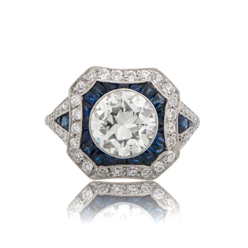 1 67ct Estate Diamond and Sapphire Engagement Ring