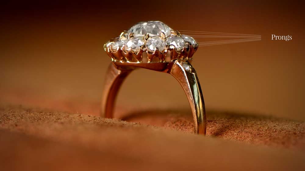 Prongs of a diamond engagement rings