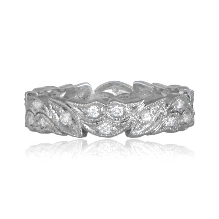 Floral motif platinum wedding band 036ct of h color diamonds junglespirit Image collections