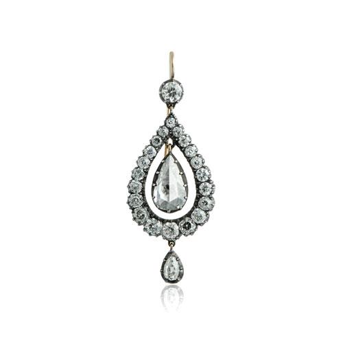 Antique Diamond Drop Earring