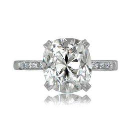 Cushion Cut Crown Engagement Ring
