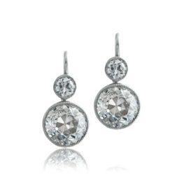 Diamond Bezel Set Old Mine Earrings