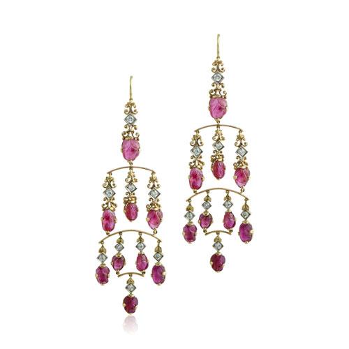 Ruby Chandelier Gold Earrings