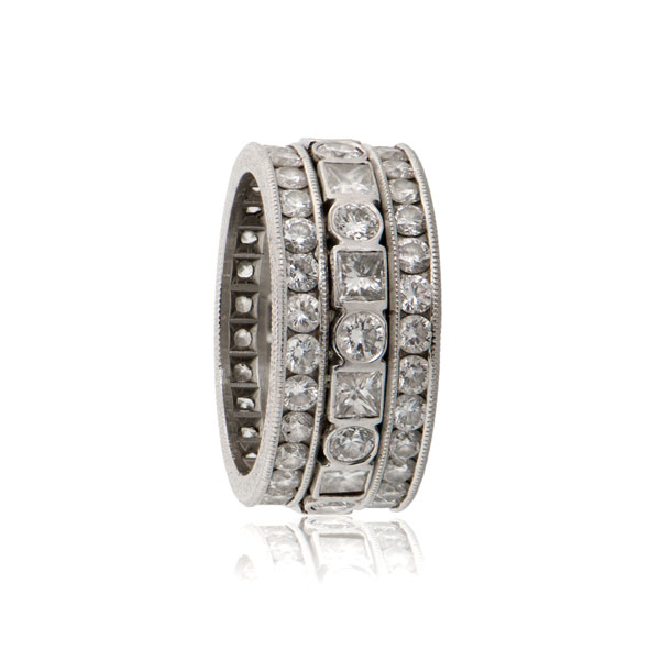 Triple Diamond Platinum Wedding Band