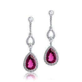 Rubelite Drop Earrings Diamonds