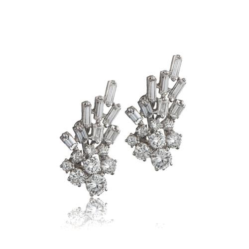 Vintage 1940's Platinum Earrings