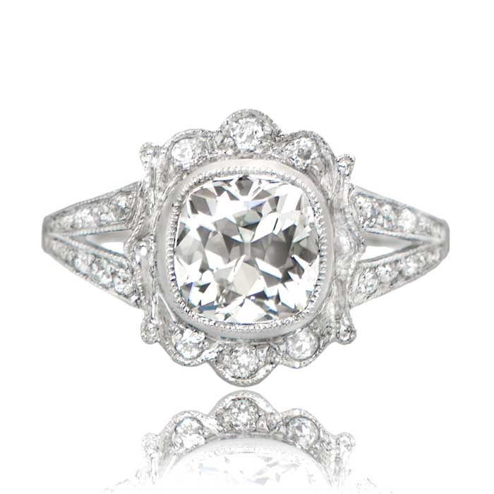 1 53ct Old Mine Antique Cushion Cut Engagement Ring