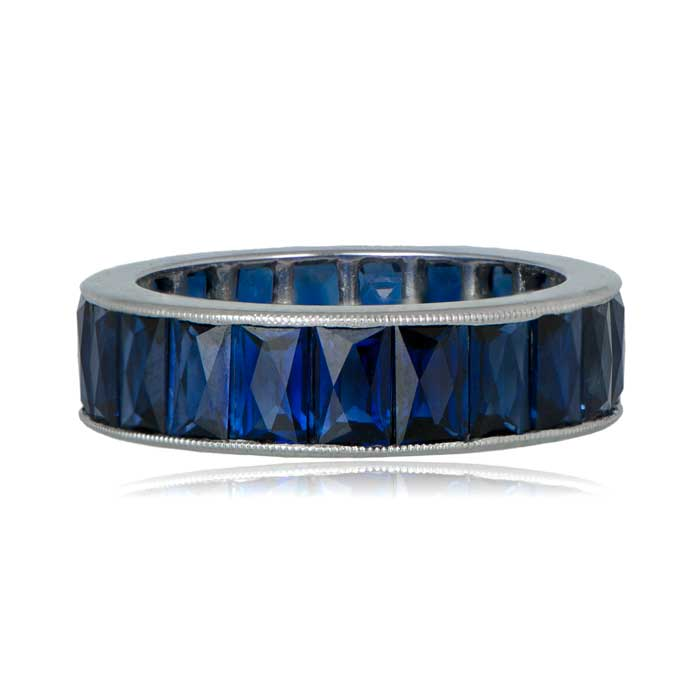 French Cut Sapphire Wedding Band - Estate Diamond Jewelry