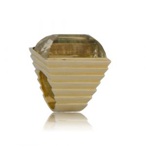 Wide Band Citrine Ring