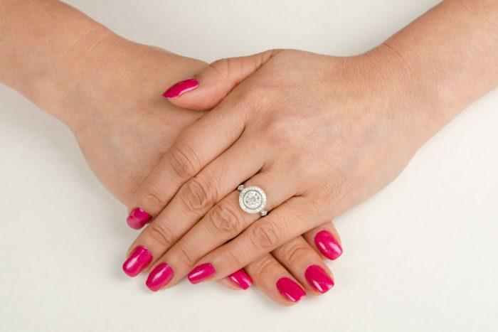 11275-Vintage-Halo-Diamond-Engagement-Ring-on-Finger
