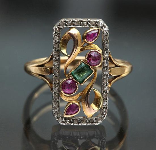 Art Nouveau Engagement Rings Estate Diamond Jewelry