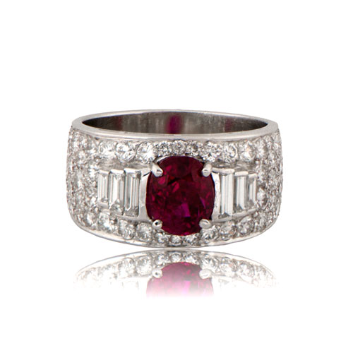 Custom Burma Ruby Ring: Vintage Bulgari Burmese Unheated Ruby Ring