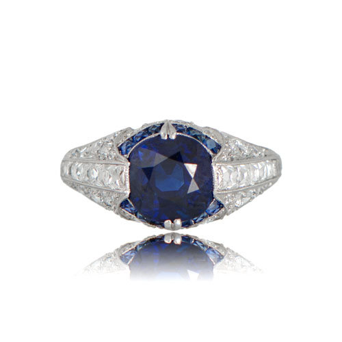 antique art deco sapphire engagement ring