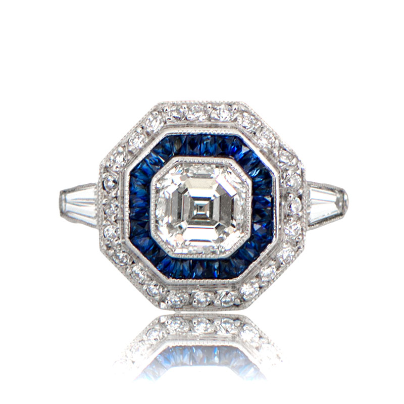 asscher and art james sapphire ring old diamond cut rtp deco rings alfredson
