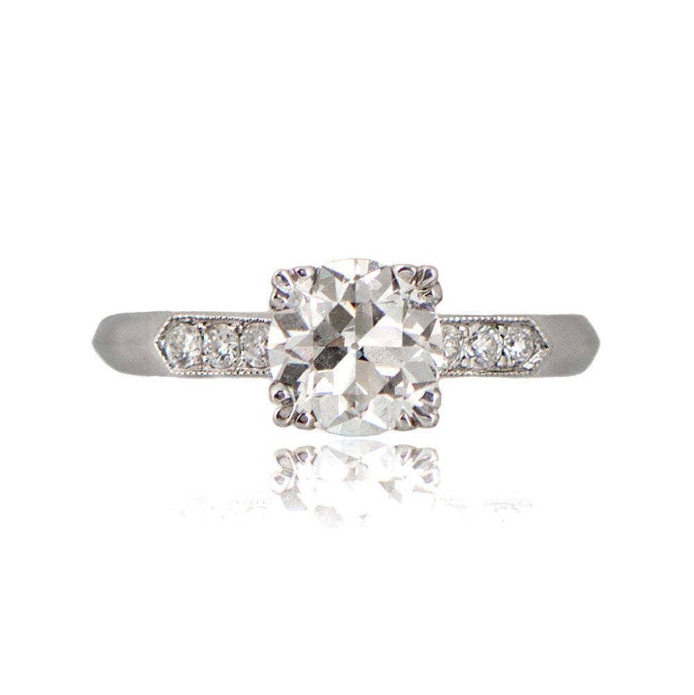 1 05ct Old Mine Cut Diamond Platinum Engagement Ring