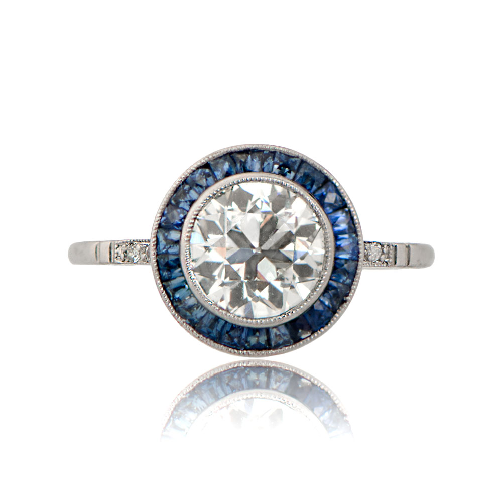 Diamond and Sapphire Halo Engagement Ring TV
