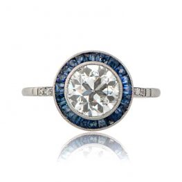 Diamond and Sapphire Halo Ring