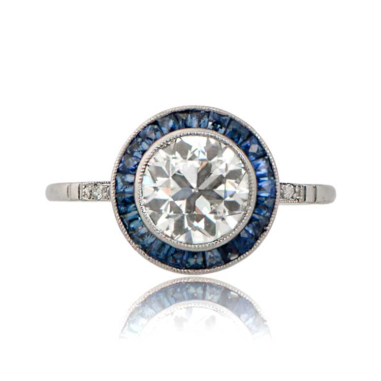 1 61ct Diamond and Sapphire Halo Engagement Ring