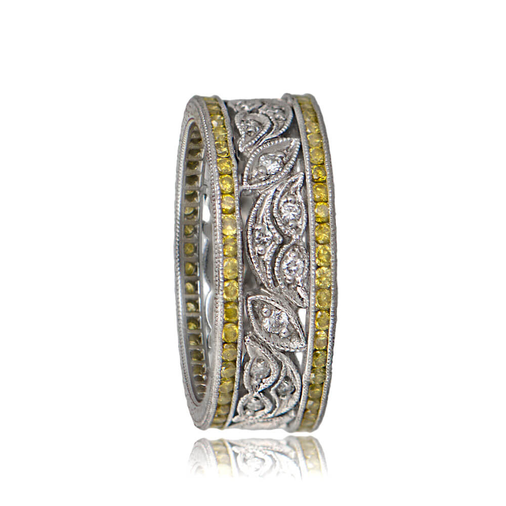 Leaf Motif Estate Wedding Band