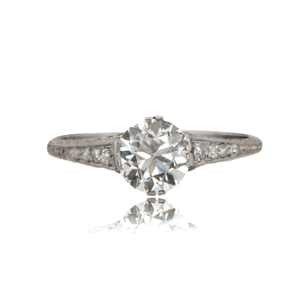 deco style platinum engagement ring