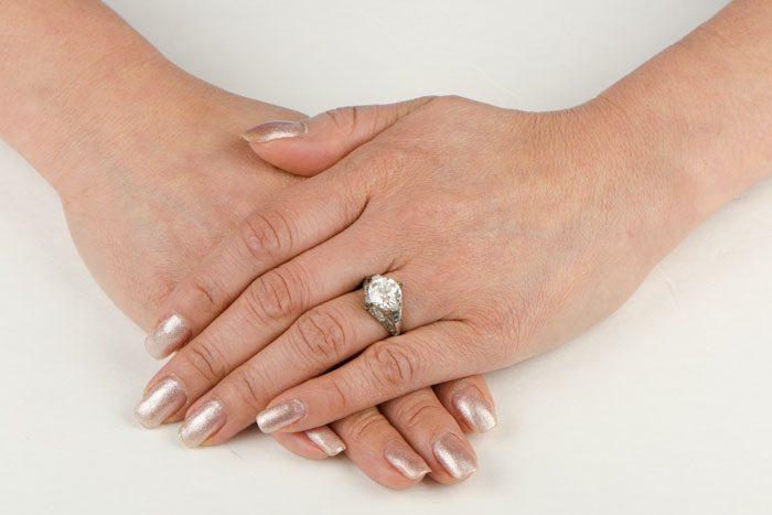 Antique Art Deco Diamond And Sapphire Engagement Ring