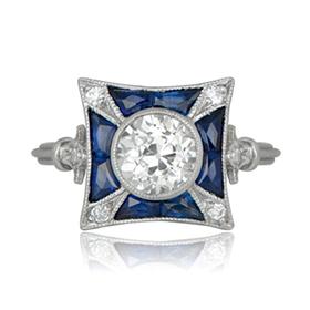 platinum set sapphire ring