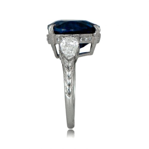 Side of Antique Pear Cut Sapphire Ring