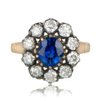 Victorian engagement ring with center sapphire