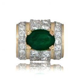 Retro Emerald Engagement Ring