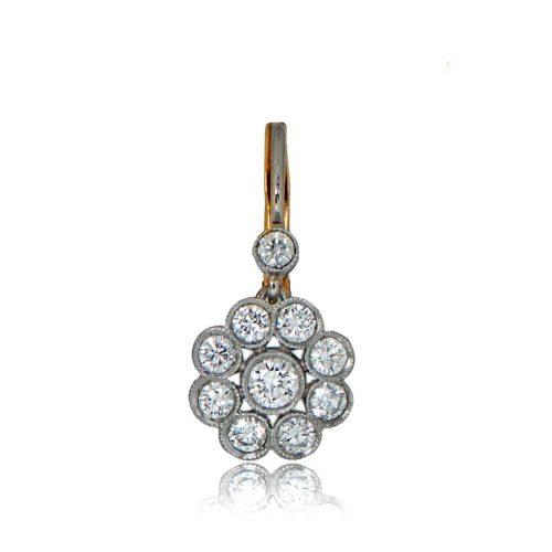 Diamond Cluster Gold Earrings