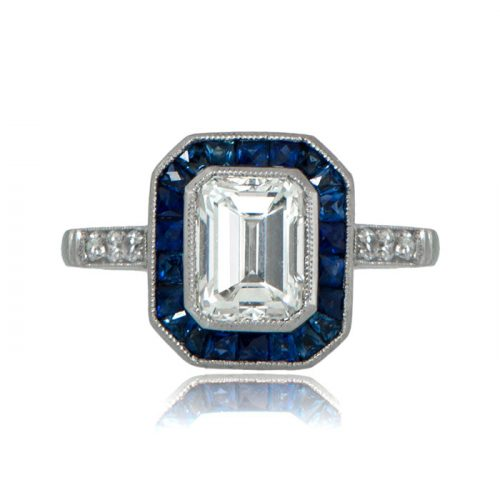 Sapphire and Emerald Cut Ring