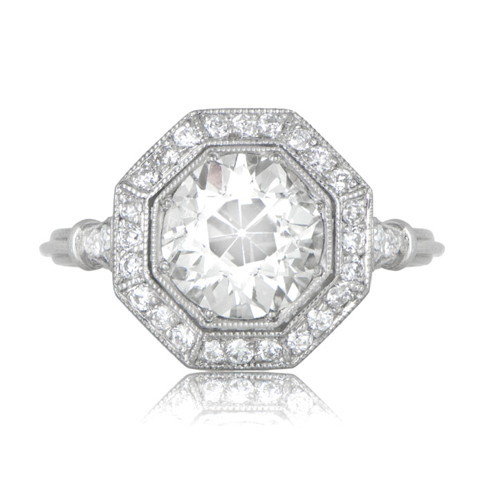 2 30ct Octagon Halo Engagement Ring Estate Diamond Jewelry