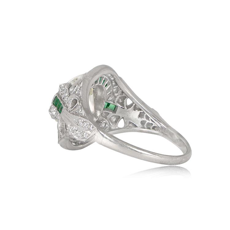 Art Deco Style Emerald Halo Ring Estate Diamond Jewelry