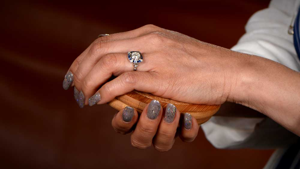 Artistic Photo of Diamond Ring on Finger