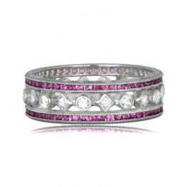 Estate Diamond Ruby Wedding Band