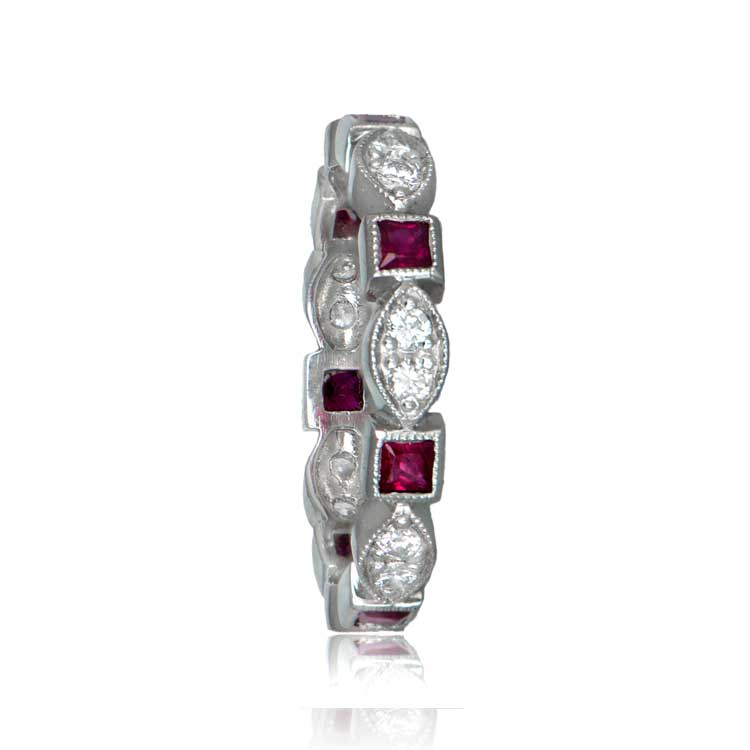 Vintage Style Platinum Diamond And Ruby Wedding Band