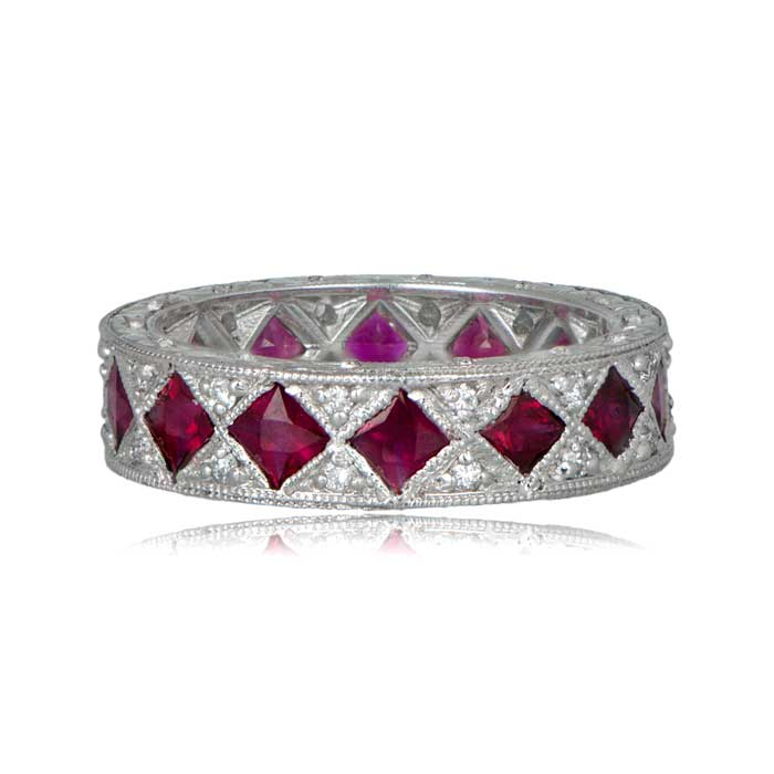 French Ruby And Diamond Wedding Band