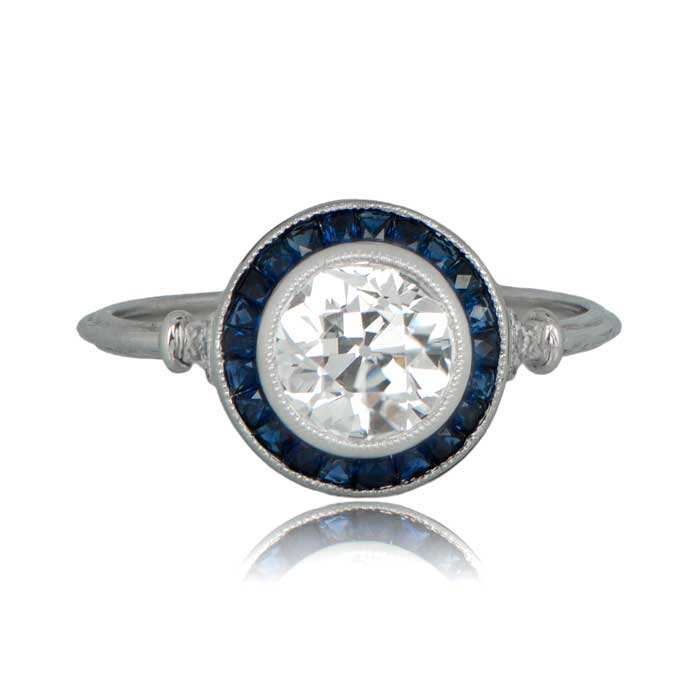 blue cut engagement ring dahlia diamond grande gold products rose kirk kara in shaped r sapphire marquise