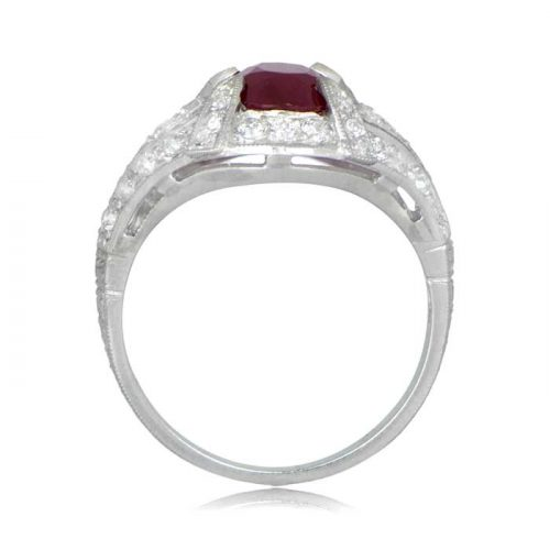 Ruby and Platinum Engagement Ring