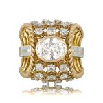 Rare French engagement ring in vintage gold and diamond