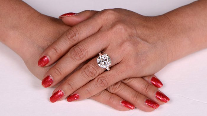 10 Carat Cushion Ring on Hand