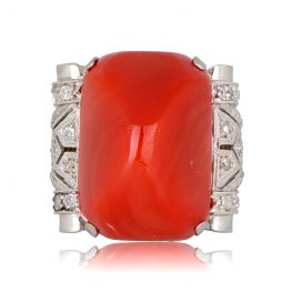 Antique Coral Cocktail Ring