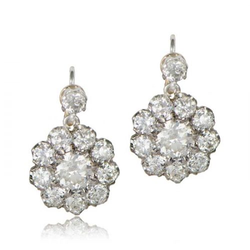 Old Mine Diamond Cluster Earrings