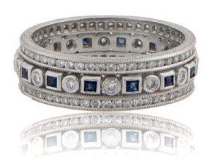 Sapphire and diamond vintage wedding band