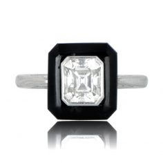 Antique Inspired Onyx Engagement Ring