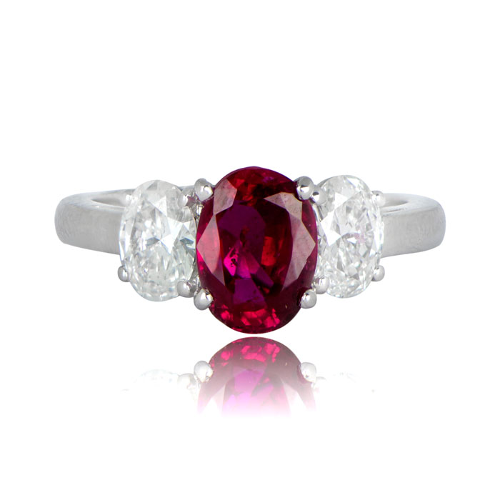 2 24ct Estate Pigeon Blood Ruby Ring Estate Diamond Jewelry