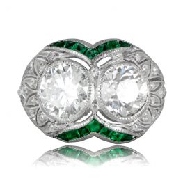 Art Deco Two Stone Engagement Ring