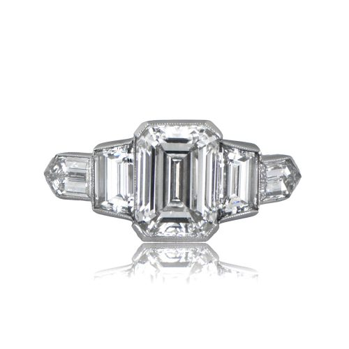 2 01ct estate emerald cut engagement ring
